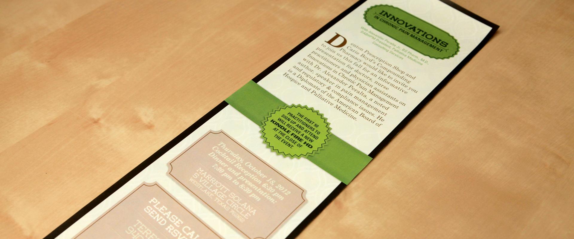 Invitation design alternative for Denton Prescription Shop event
