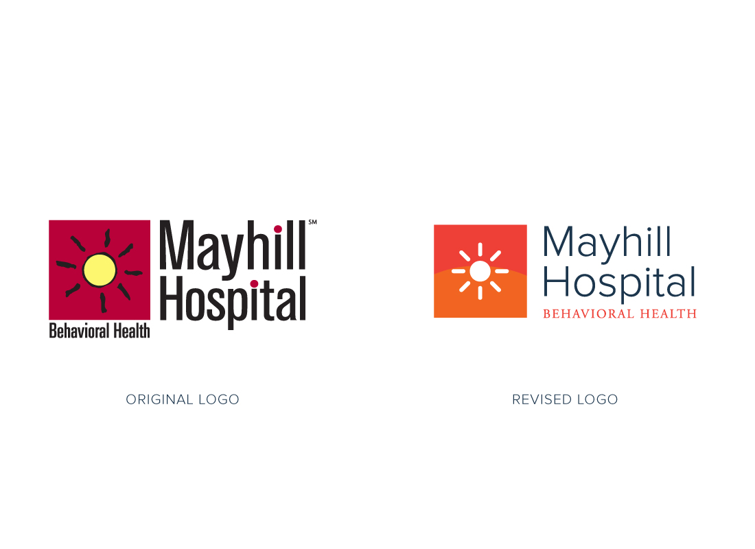 Comparison between new and old logo design for Mayhill Hospital