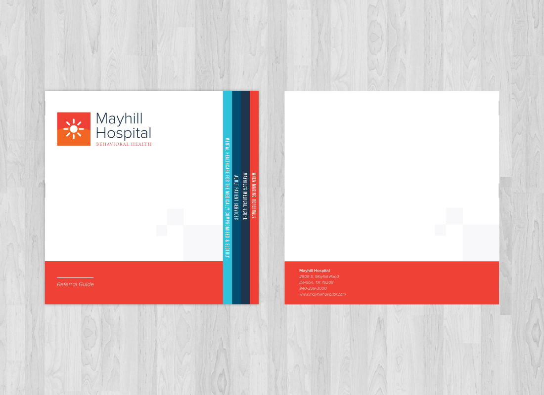 Booklet print design mockup for Mayhill Hospital