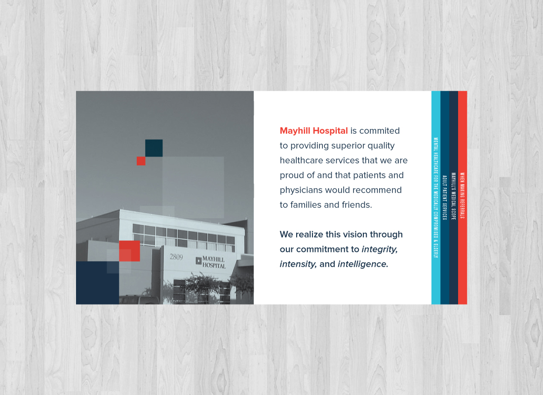 Inside page for booklet design for Mayhill Hospital