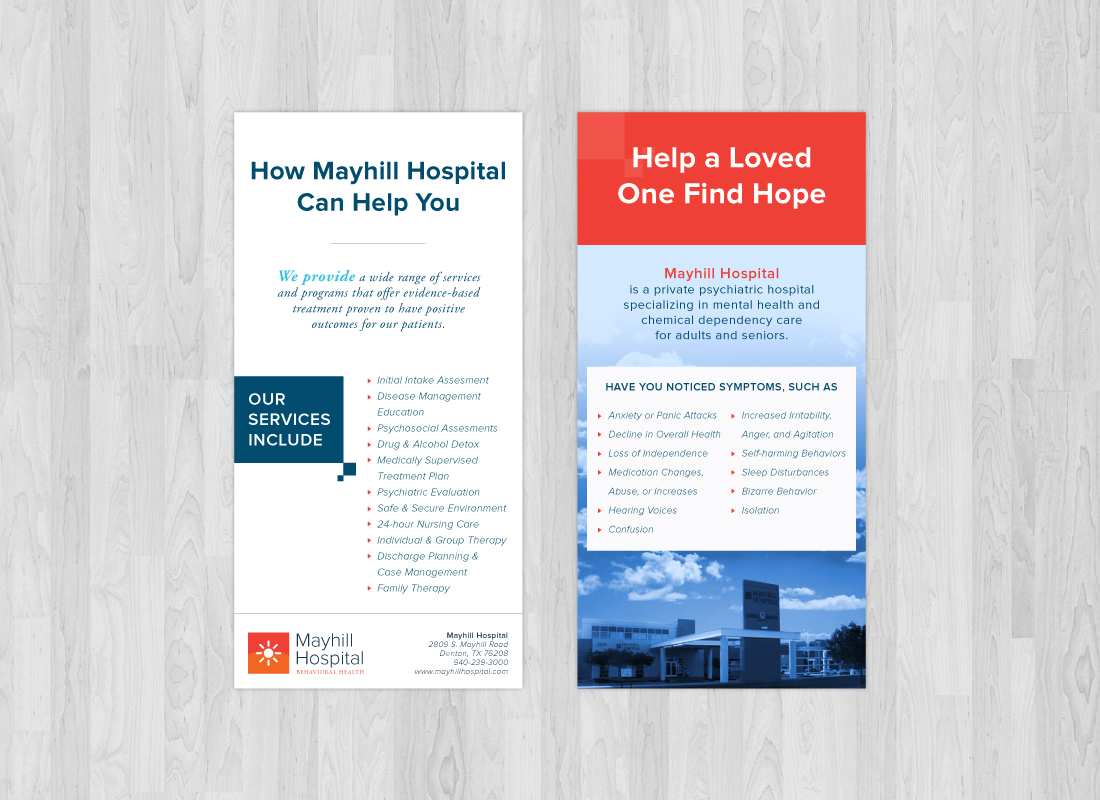 One page brochure print design for Mayhill Hospital