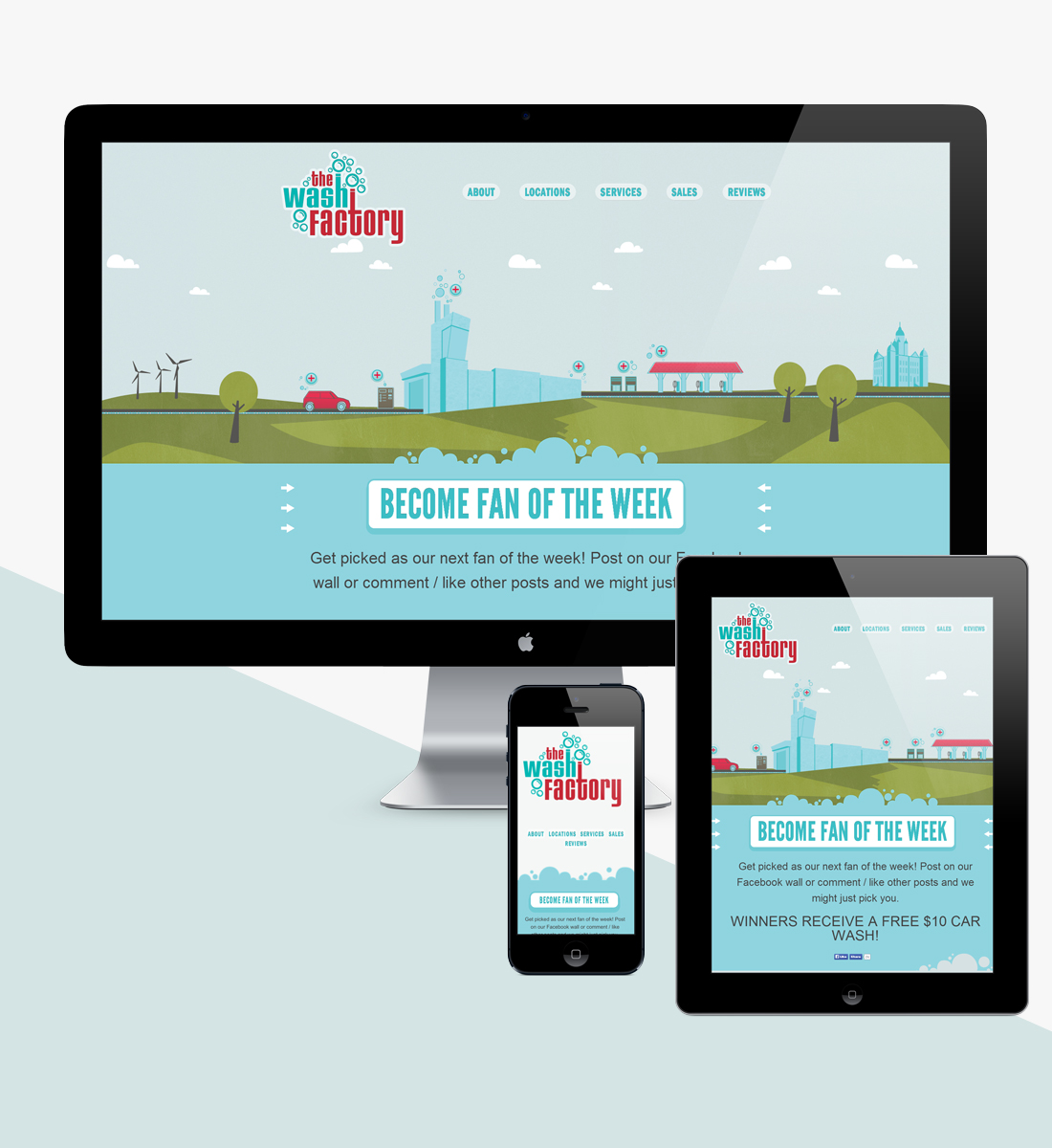 Devices showing responsive website design for The Wash Factory