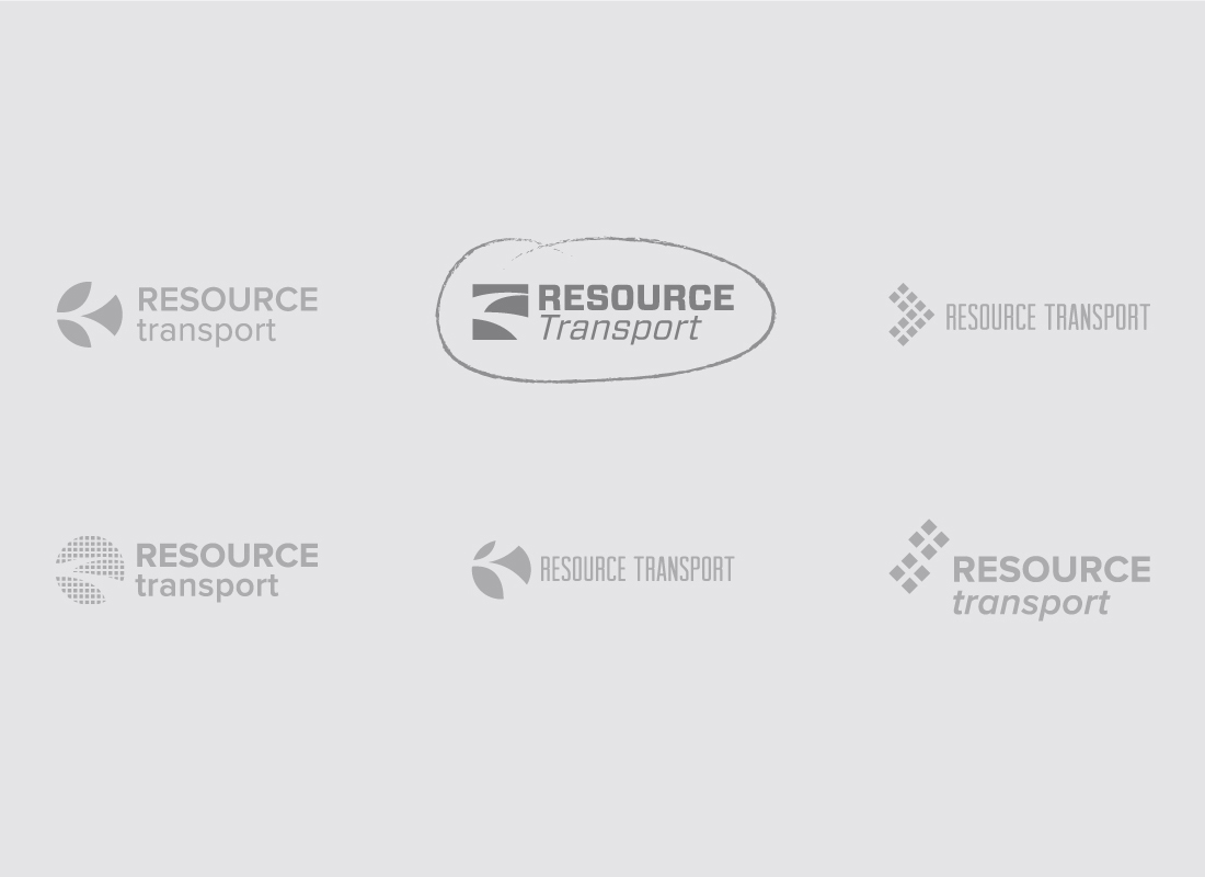 Various logo options presented during the branding process to Resource Transport
