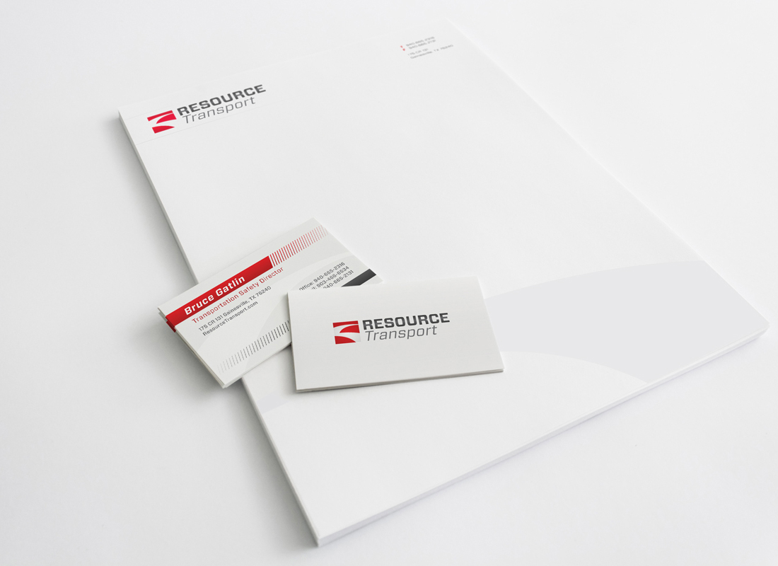 Brand identity and print collateral designed for Resource Transport