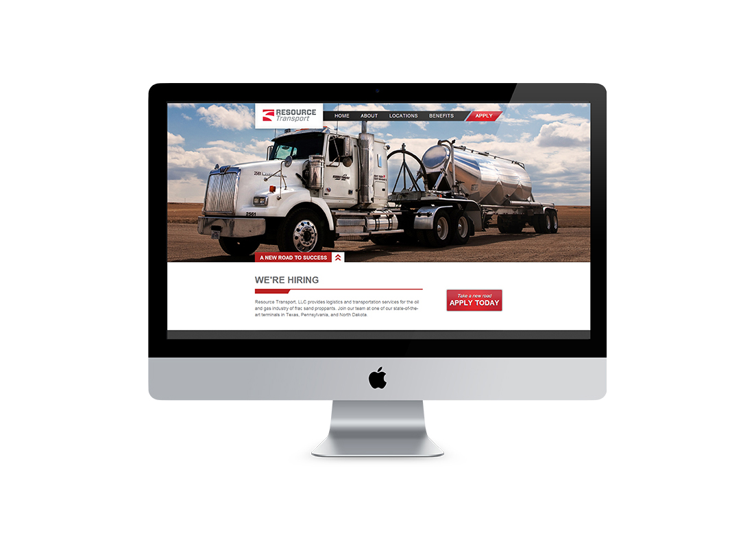 Homepage design for Resource Transport's website