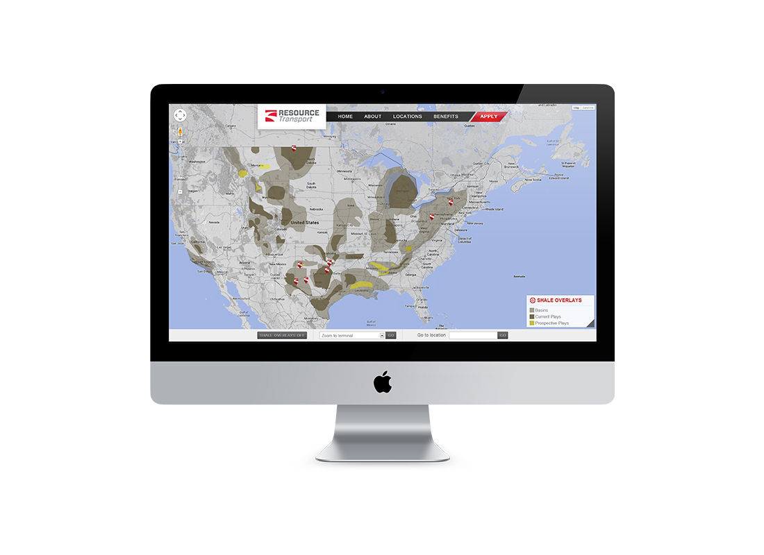 Interactive locations page developed for Resource Transport's website