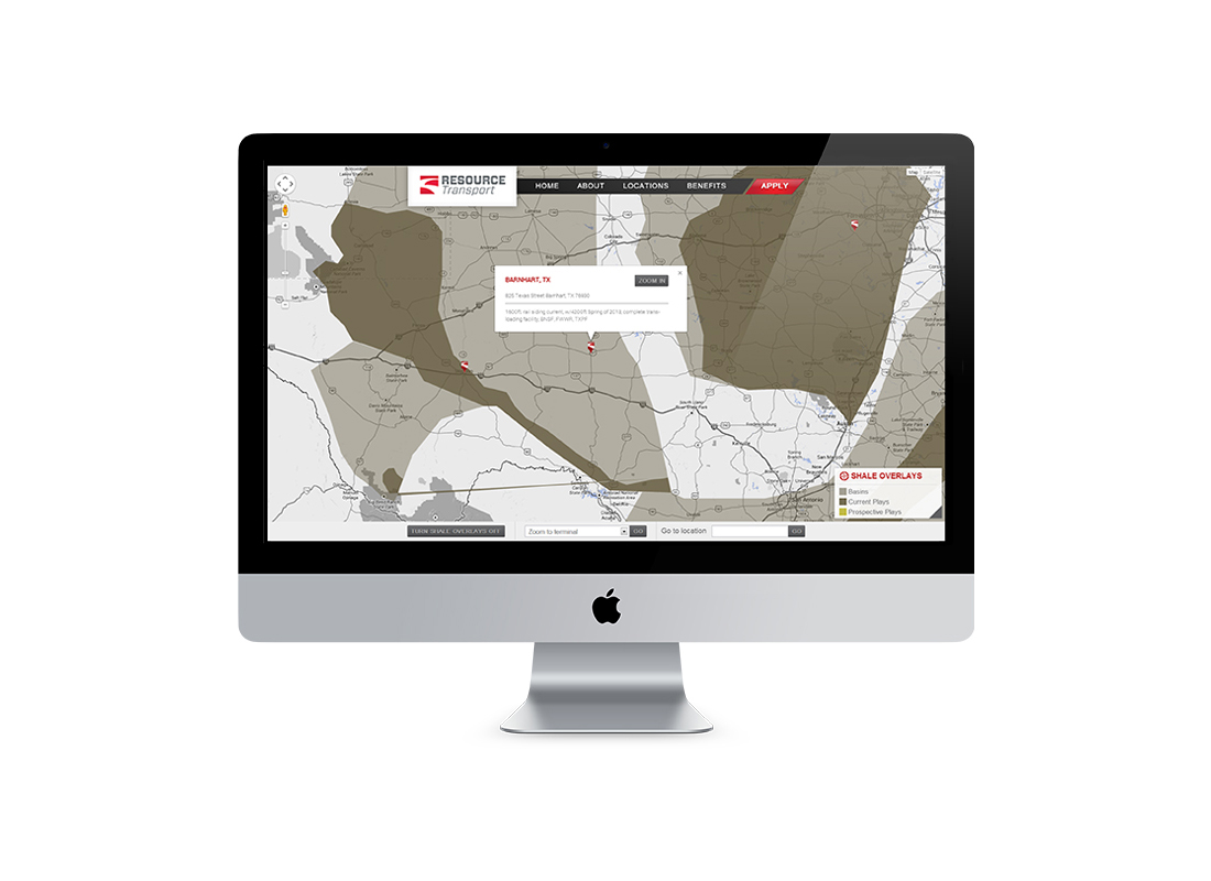 Interactive locations page developed for Resource Transport's website - zoomed in