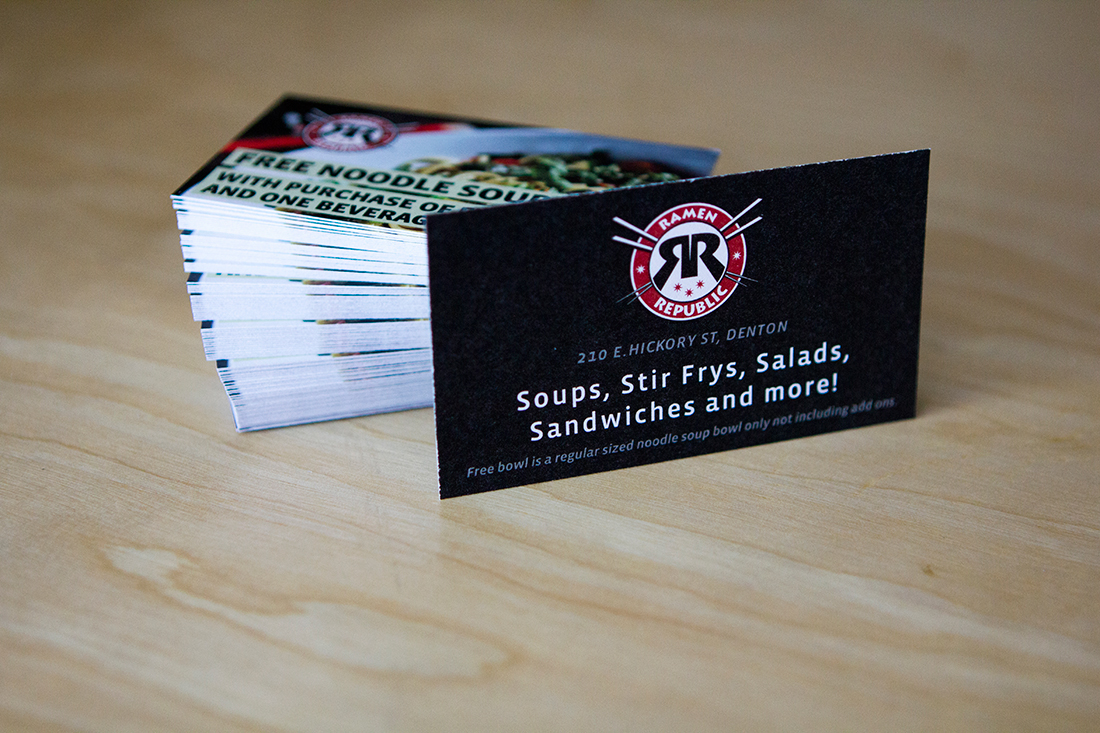Print design and product photography for Ramen Republic coupon cards.
