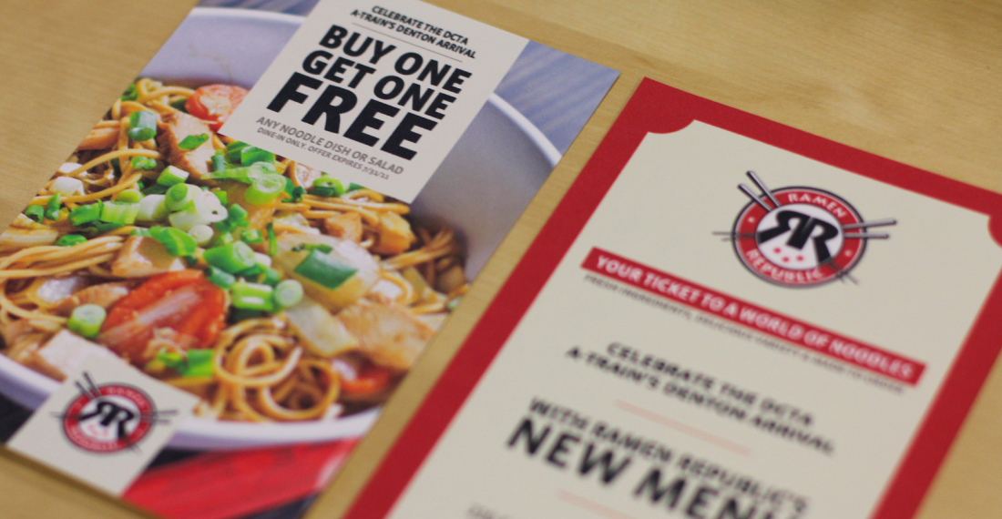 Print design and product photography for Ramen republic marketing materials.