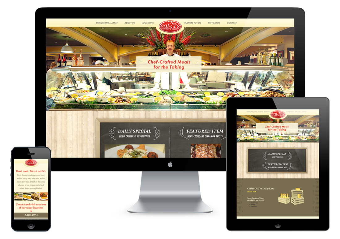 Devices showing responsive website design for Dallas based Eatzi's